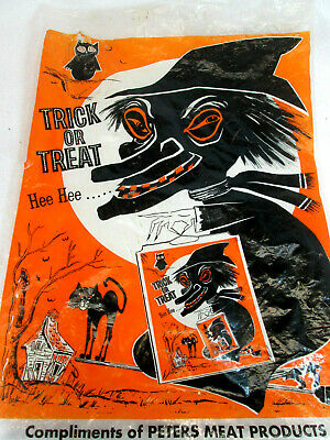 Vintage 1960's Halloween Witch plastic trick or treat candy bag