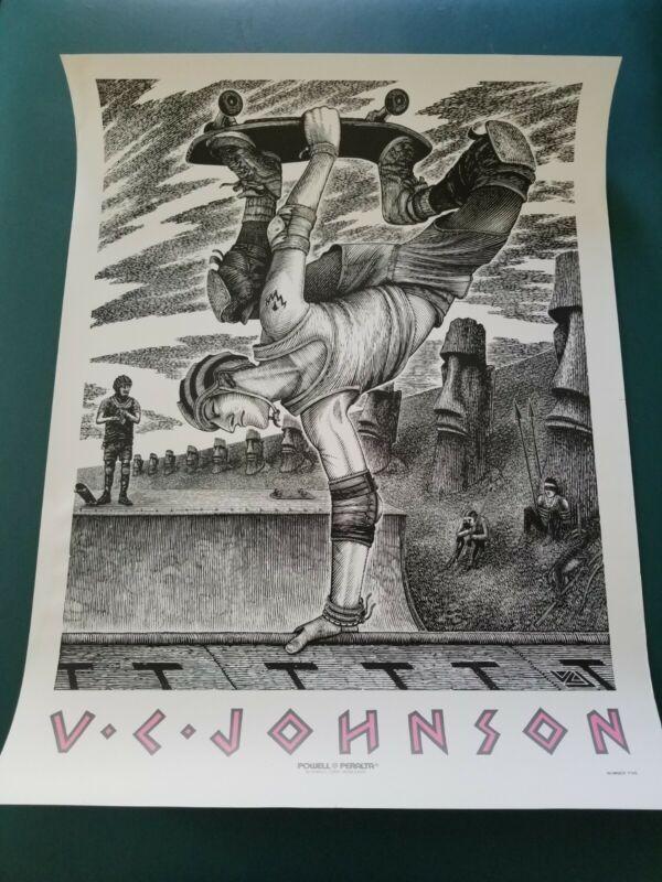 "vintage VC JOHNSON skateboard poster 1989 powell peralta 26""x 19.5"""