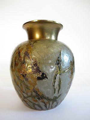 Ältere Messing Bronze Vase mit Email Ziselierungen