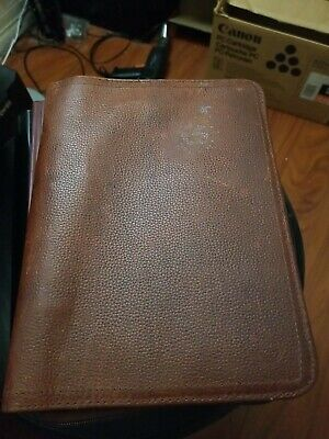 8 Rings Brown Distressed Leather Double Stitch Franklin Covey Zipper Binder
