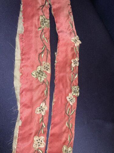 "Victorian Hand Embroidered + Handmade 3D Flowers on Rose Silk Trim 30"""