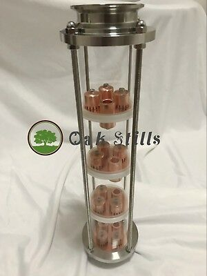 "3"" Borosilicate glass copper bubble plate moonshine reflux column"