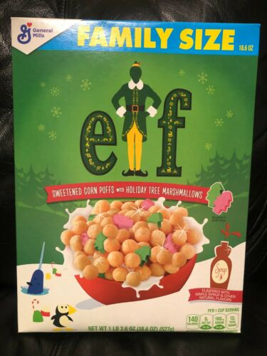 ELF FAMILY SIZE BOX GENERAL MILLS CHRISTMAS CEREAL
