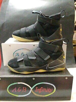 Nike Lebron Soldier XI Zoom Gum Mens Sz 8 Basketball Shoes 897644-007 black gum