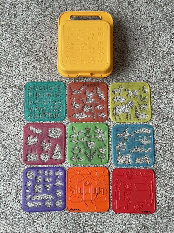 Tupperware Tuppertoys Stencils Case Picture Rubbing Plates Stencils Holiday Alph