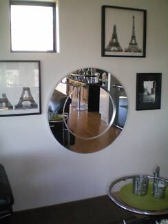 Modern Round Wall mirror with recessed center Paid $349 Sell $120