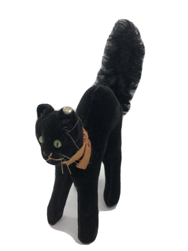 Vintage Steiff Halloween Black Cat with arched back Button Kitten