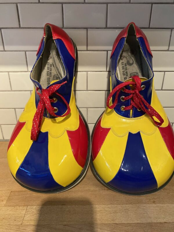 Professional Clown Shoes Costume Size 11 Made In Mexico Yellow Red Blue