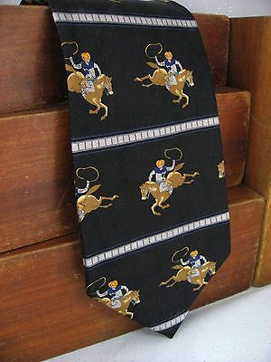 New Black Western Rodeo Roping Cowboys Frontier Mens Silk Neck Tie 115 (Western Tie)