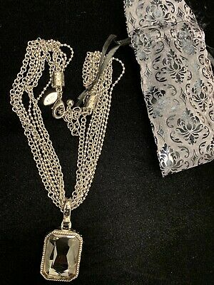 Beautiful! Chico's Multi-Chain Silver-Tone Rectangle -Shaped and Faceted Pendant Tone Multi Shapes