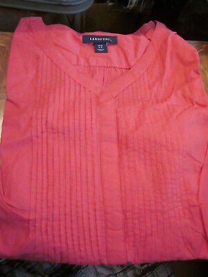 NEW! LANDS END WOMENS VOILE PNTK PLEATED TUNIC SHIRT BLOUSE CLARET RED LARGE PET