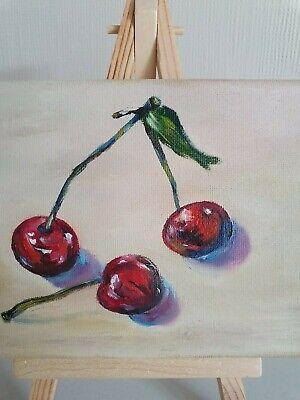Oil painting still life mini picture cherries gift present interior