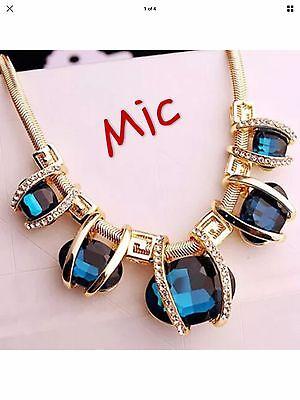 Fashion Charm Jewelry Chain Pendant Crystal Choker Chunky Bib Necklace Blue