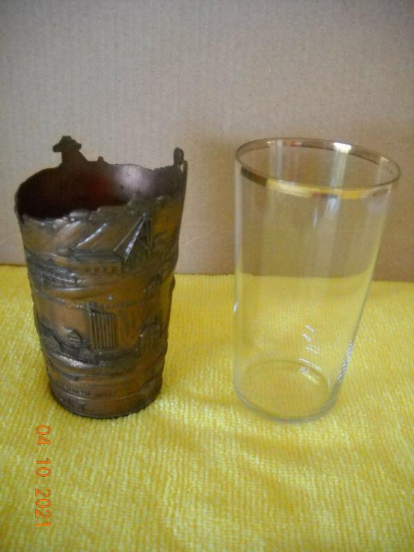 Vintage Copper Souvenir Glass Holder of Butte, Mont.