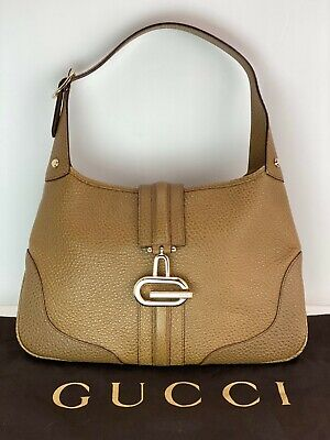Gucci Tan Leather Shoulder Small Hand Bag Vintage B149 AUTHENTIC