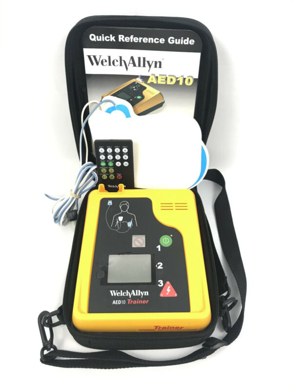 Welch Allyn AED 10 Trainer w/ Case, Leads, Remote, and Manuals Great Condition