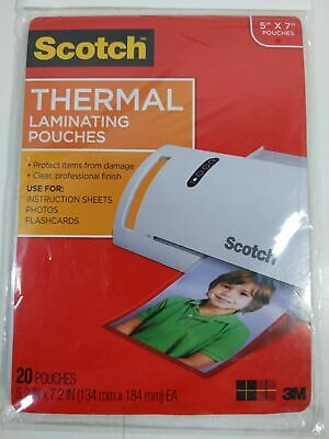 Scotch Thermal Laminating Pouches 2-pk Total Of 40 5 X 7 5 Mil Tp5903-20