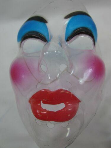 VTG Transparent Mask Halloween Mime Hong Kong Clear Blue Eye Shadow 33551