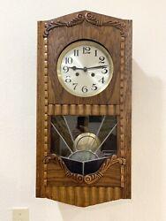 Antique German Wall Clock Leaded Glass Strike 8 Day Rare Art Decor Design Case