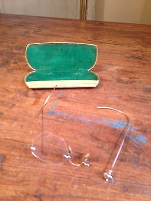 1929 Antique 12K Gold Bausch & Lomb Wire Glasses Eyeglasses Steve Jobs Rare ()