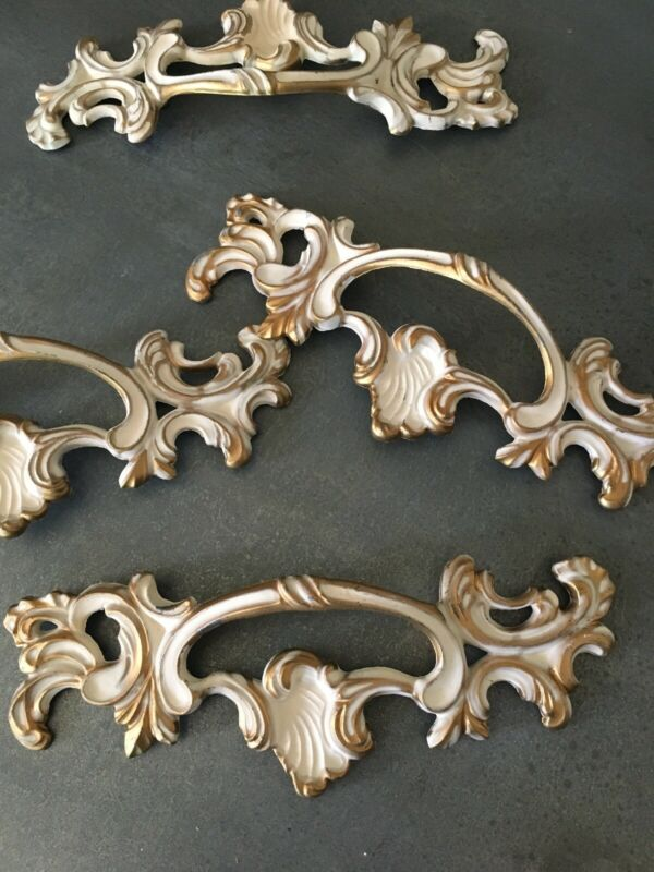 French Provincial Metal Drawer Pull Hardware New Old Stock Distressed Vintage