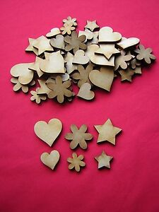 2cm-3cm-20mm-30mm-MDF-HEART-STAR-FLOWER-x-60-LASER-CUT-WOOD-SHAPES
