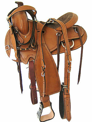 "'THSL'  WESTERN ROPER SADDLE SET LIGHT OIL METAL COVERED STIRRUPS 16""  (1074)"