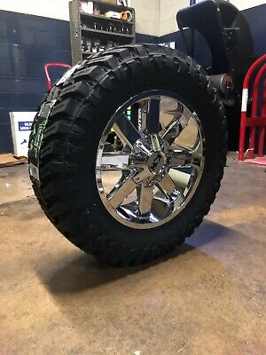 """20x9 ION 141 35"""" MT Chrome Wheel and Tire Package 6x135 Ford F150 Expedition"""