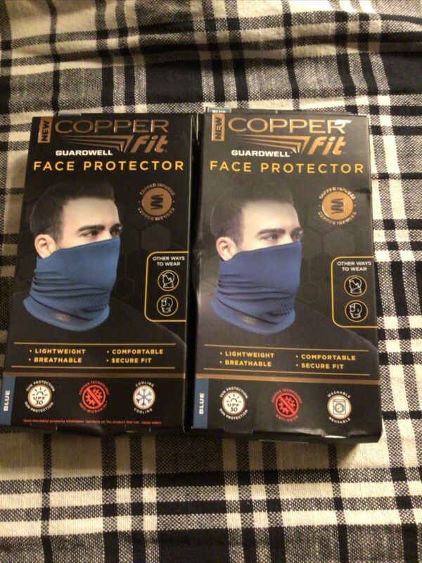 Set of 2 Copper  Fit Guardwell Face Protector Mask Lightweight breathable Blue