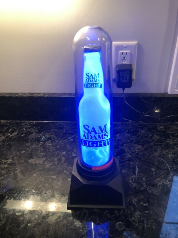 Sam Adams Light Blue Plasma Beer Light Bar Decor Man Cave Unique!