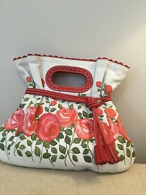 Isabella Fiore White  Leather Lined Handbag  New Pink Roses