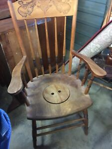 ANTIQUE COMMODE CHAIR,  AND  ANTIQUE WASH STAND.
