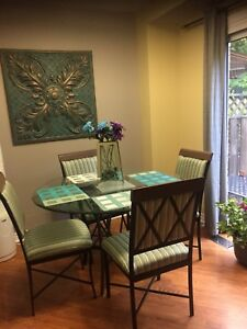 Wrought Iron glass table & chairs