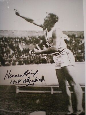 - RARE HAND SIGNED PHOTO  HERMAN BRIX-AKA BRUCE BENNETT-SHOT PUT OLYMPICS-'28 COA