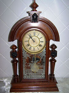 ANTIQUE AMERICAN WATERBURY KING SAME AS ANSONIA KING MANTLE CLOCK