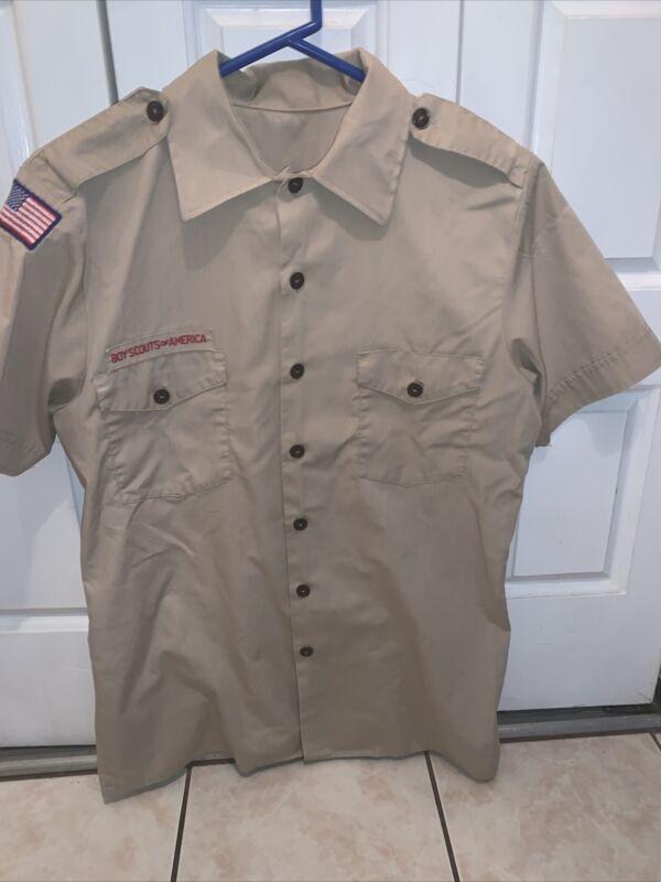 Boy Scout BSA UNIFORM SHIRT  Men's  Medium Short Sleeve Tan L48