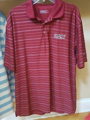 Maroon Striped Performance Polo - NIKE Golf Men's XL Red Maroon Stripe DryFit Polo Performance Shirt Navistar LPGA