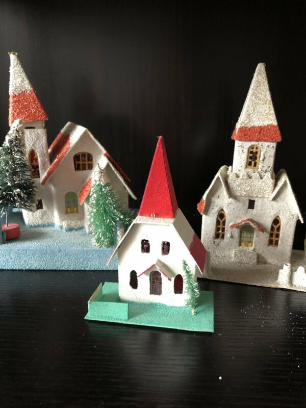 Vintage Putz Churches-Lot of Three (Free Shipping!)