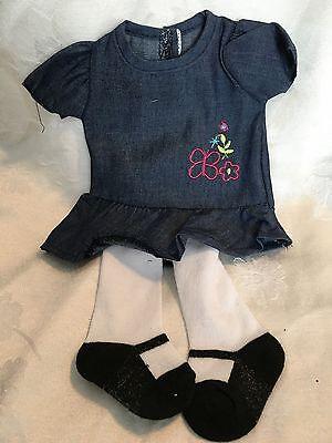 """Lakeside Collection Doll Clothes-Blue Dress/Tights fits American Girl/18"""" dolls"""
