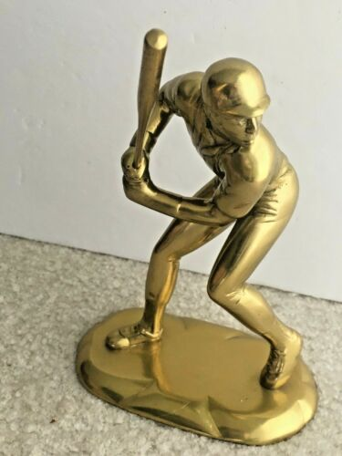 """Vintage solid brass baseball player batter up figurine statue removable bat 7"""""""