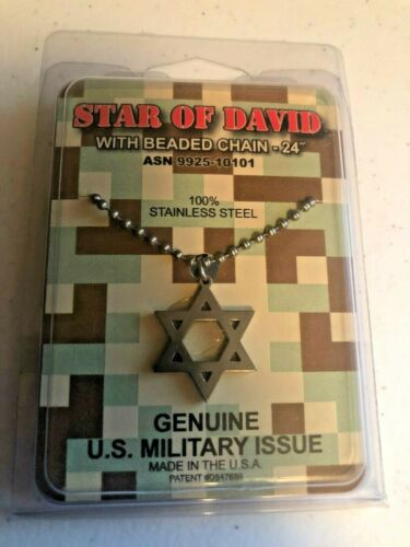 "Genuine US Military Issue Star of David 1""  x 1"" with 24"" Beaded Chain"