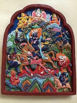 MONGOLIAN TIBETAN  BUDDHIST LARGE  CLAY TSA TSA OF A SHRI-DEVI  PALDEN LHAMO