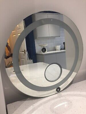 Large Circular (60cm) Bathroom / Toilet Mirror with non-touch light / bulb