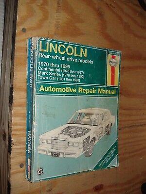 - 1970-1995 LINCOLN CONTINENTAL SHOP MANUAL SERVICE TOWN CAR MARK SERIES REPAIR JB