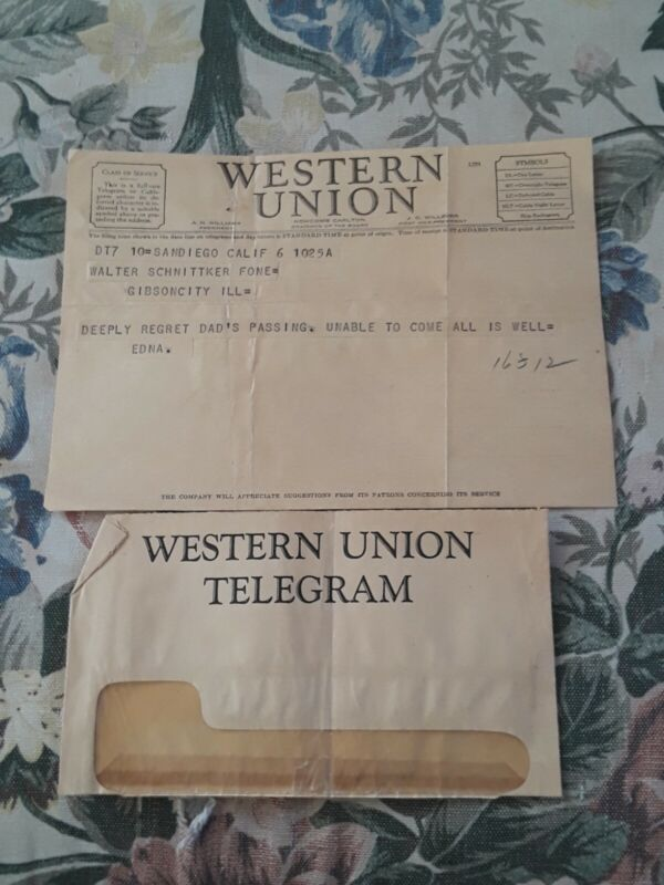 Western union telegram 1940