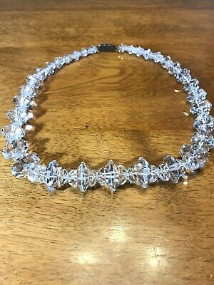 """VNTG Sparlky 60's Clear Crystal Rhinestone """"Flying Saucer"""" Motif Necklace Choker](Flying Saucer Costume)"""