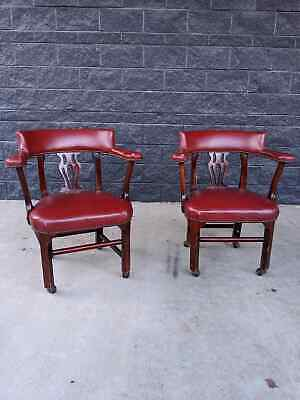 2 St Timothy Library Law Court Club Banquet Bankers Chairs W Nailheads Red