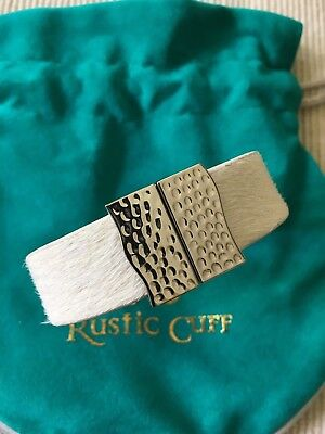 RUSTIC CUFF - New Haley White Calfskin with Silver Magnetic Clasp - $72