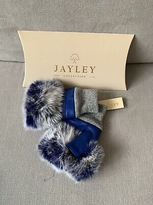 Jayley Collection Women's Leather Fur Trim Fingerless Gloves In Blue