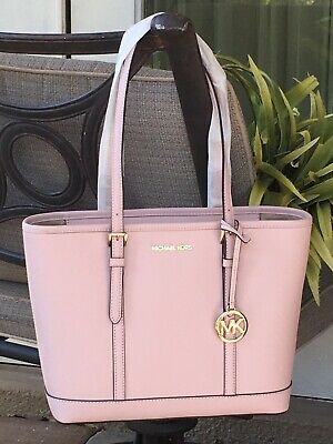 MICHAEL KORS JET SET TRAVEL SMALL ZIP SHOULDER TOTE BAG BLOSSOM PINK LEATHER